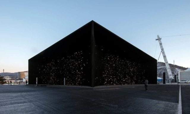 The Hyundai Pavilion coated in a super-black material. (Image courtesy of Hyundai.)