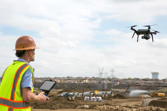 A drone is deployed using 3D Robotics' Site Scan software. (Image courtesy of 3D Robotics.)