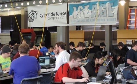 Students test their skills in ISEAGE competition against real cyber security professionals using real time detection solutions. (Image courtesy of Iowa State University/ISEAGE.)