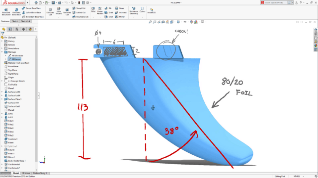 SOLIDWORKS 2019 will allow for 3D markups with handwritten notes. (Image courtesy of SOLIDWORKS).