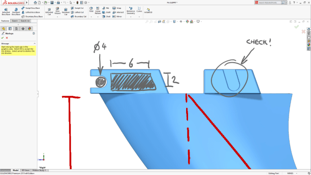 SOLIDWORKS 2019 will allow for handwritten markup. (Image courtesy of SOLIDWORKS).