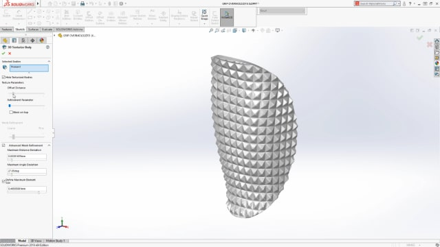 SOLIDWORKS 2019 will allow users to quickly add 3D textures to existing solids. (Image courtesy of SOLIDWORKS).