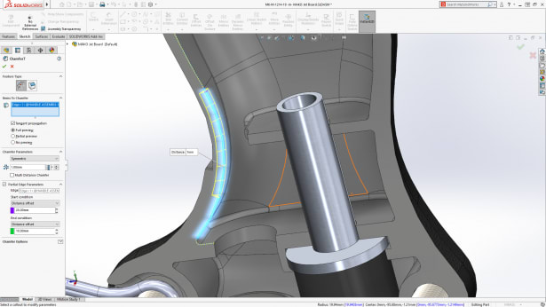 Make space for conflicting parts with the partial chamfer/fillet tool. (Image courtesy of SOLIDWORKS).