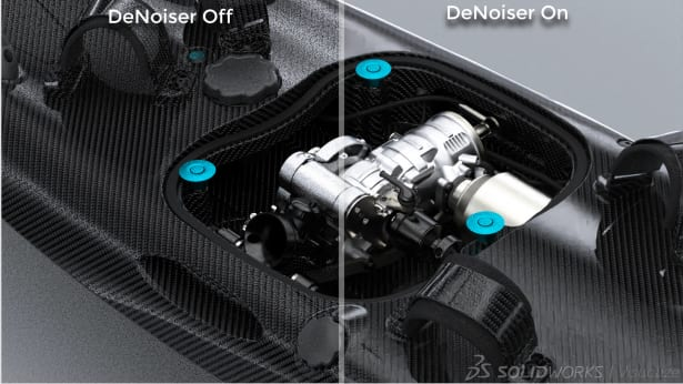 Example of a scene with and without the new Denoiser. (Image courtesy of SOLIDWORKS).