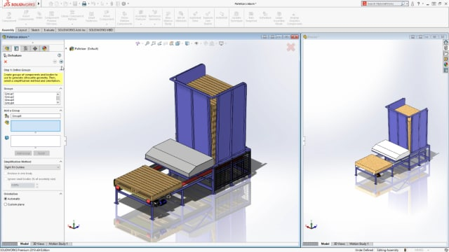 SOLIDWORKS 2019 gives users the ability to defeature their assemblies. The full featured assembly is on the left, with the defeatured version on the right. (Image courtesy of SOLIDWORKS).