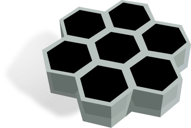 Schematic of a compound solar cell, where a hexagonal scaffold (gray) is used to partition perovskite (black) into microcells to provide mechanical and chemical stability. (Image courtesy of Duaskardt Lab/Stanford University.)