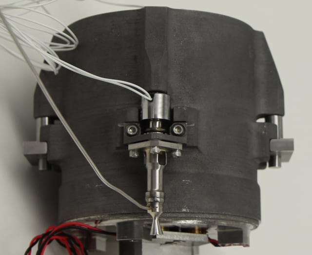 Meant to propel CubeSats, the MPS-120 CubeSat High-Impulse Adaptable Modular Propulsion System is the first 3D-printed hydrazine-integrated propulsion system. The system features a 3D-printed titanium piston, propellant tank and pressurant tank, as well as four miniature rocket engines and feed system components. (Image courtesy of Aerojet Rocketdyne.)