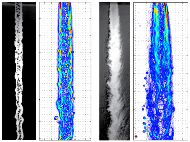 Shadowgraph images with PLIF density gradient maps of a subcritical injection into an environment of subcritical conditions compared with the two imaging results for injection with all conditions supercritical. (Image courtesy of DeSouza and Segal.)