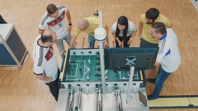 The Bosch Rexroth team playing a game against KIcker. (Image courtesy of Bosch Rexroth.)