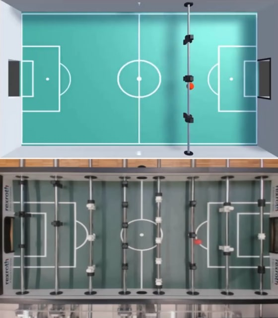 Top: A simulation of KIcker created in Unity. Bottom: The real KIcker system as seen from its bird's-eye-view camera. (Image courtesy of DXC Technology.)
