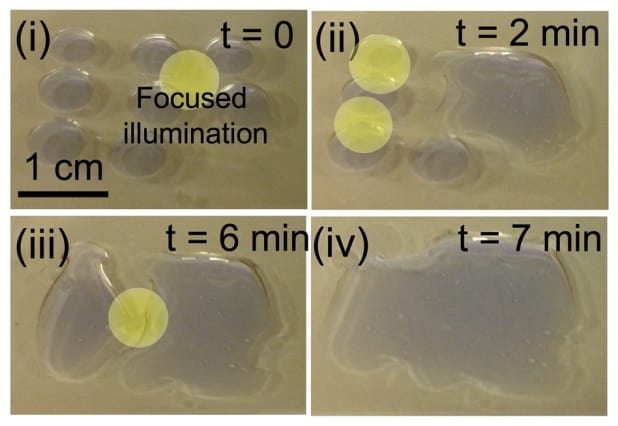 By creating surfaces whose interactions with water — a property known as wettability — can be activated by light, the researchers found they could directly separate oil from water. The process causes individual droplets of water to coalesce and spread across the surface. (Image courtesy of MIT.)