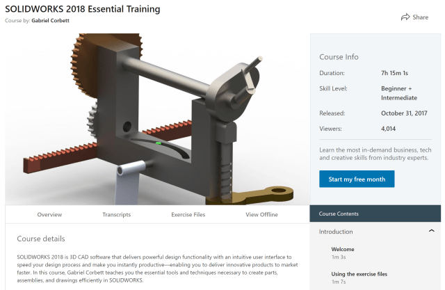 Screenshot of SOLIDWORKS 2018 Essential Training, one of the 13 courses available for free until February 11. (Image courtesy of LinkedIn Learning).