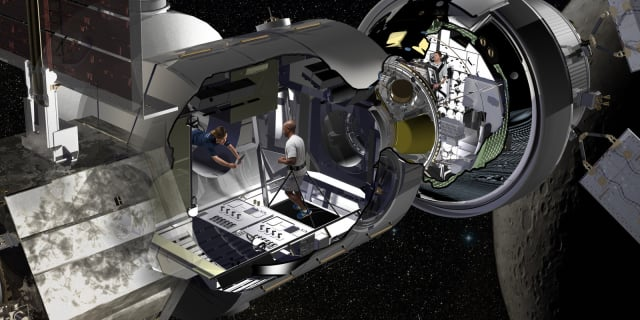 Lockheed Martin artist rendering of the NextSTEP habitat docked with Orion in cislunar orbit as part of a concept for the Deep Space Gateway.