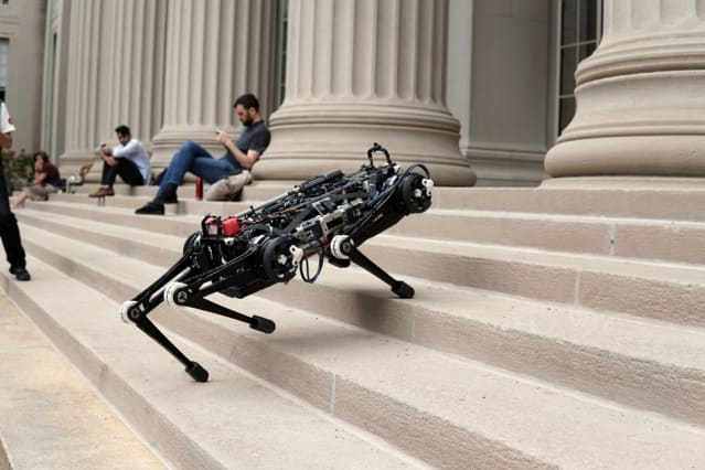 MIT's Cheetah 3 robot can climb stairs and step over obstacles without the help of cameras or visual sensors. (Image courtesy MIT)
