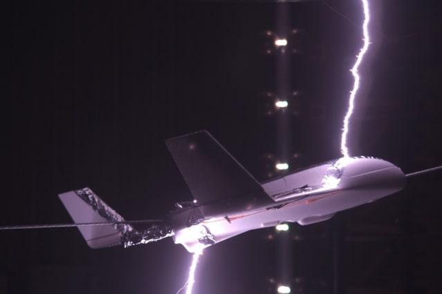 Lightning laboratory test on model aircraft. (Image courtesy of Joan Montanya/Polytechnic University of Catalonia.)