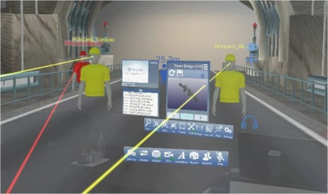 The Multi-Room feature allows a team of users to walk through shared models in sync while enjoying their own individual perspective. They can hear each other, share documents, see shared annotations and hear each other as though it were a conference call—all while interacting with each other's 3D avatars in real-time. (Image courtesy of Arvizio.)