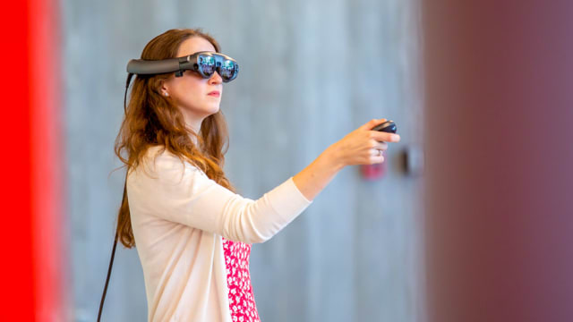 An architecture student at the University of Miami using a Magic Leap One headset. (Image courtesy of University of Miami and Magic Leap.)
