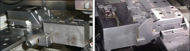 (Left) Side-clamp vise. (Right) Top-Clamp Vise. (Image courtesy of Makino.)