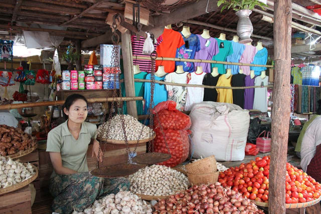Market stall in Bagan, Myanmar.