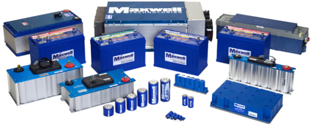 Maxwell ultracapacitors and supercapacitors. (Image courtesy of Maxwell Technologies.)