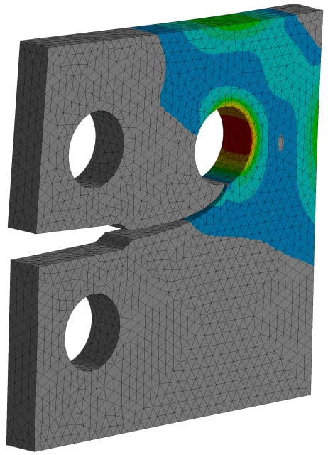 Automating accurate crack propagation with SMART Fracture in ANSYS Mechanical. (Image courtesy of ANSYS.)
