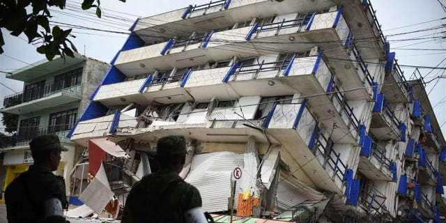 Hotel in Mexico City wrecked by earthquake this month. (Image courtesy of Angel Hernandez/EPA.)