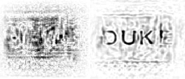 A view of a microwave scan of the Duke logo taken through a wall before and after distortions have been removed. By taking into account the types of distortions typically created by flat, uniform walls, the new algorithm allows for better scans without needing to know what the wall is made of beforehand. (Image courtesy of Daniel Marks/Duke University.)