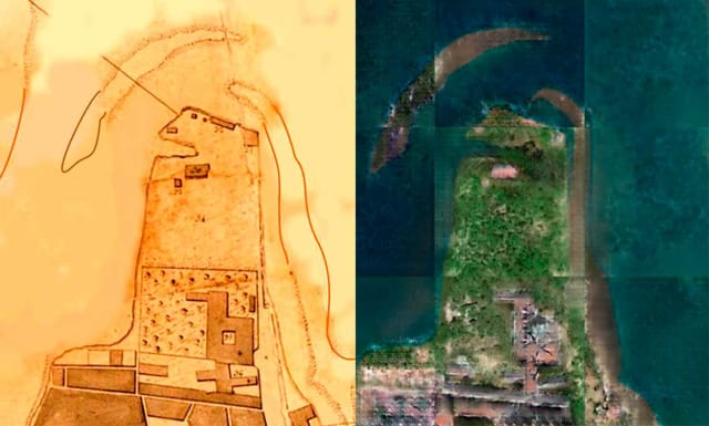 A map from 1808 (left) was used to generate a satellite-style image (right). (Image courtesy of Andrade et al.)