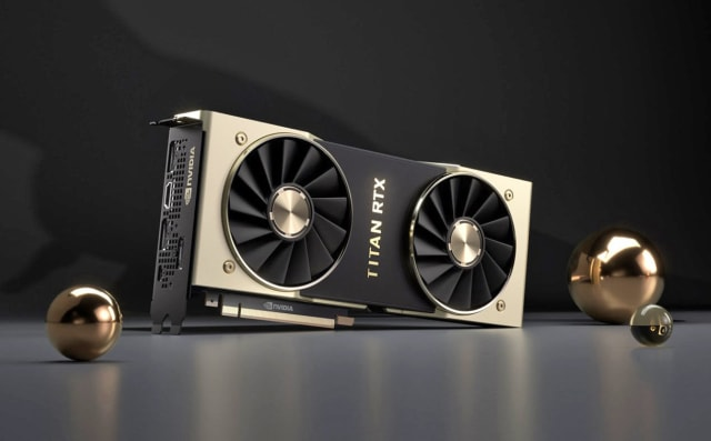 "The TITAN RTX GPU has 4608 CUDA cores and 72 Turing RT ""cores"" but isn't really a successor to the previous Titan RTX XP. It has a TU102 GPU like the Quadro RTX 6000 GPU (USD 6300) for workstations in the professional visualization sector. (Image courtesy of NVIDIA.)"
