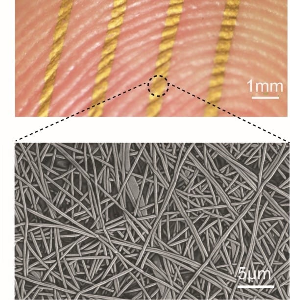An array of nanomesh conductors attached to a fingertip, top, and a scanning electron microscope (SEM) image of a nanomesh conductor on a skin replica, bottom. (Image courtesy of Someya Laboratory.)