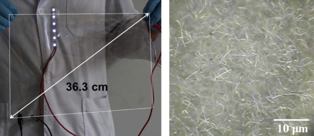 Left: a photograph of a silver nanowire-coated film. Right: the silver nanowire particles as seen through a microscope. (Image courtesy of S.K. Yoon, Korea University, via University of Illinois at Chicago.)