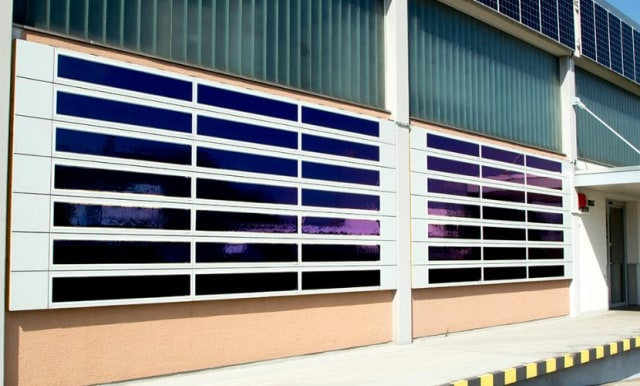 Heliatek OPV panels mounted to an exterior wall