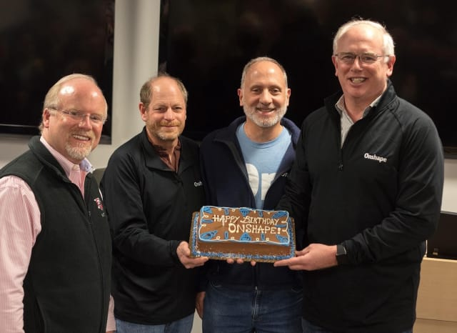 """THE FOUNDING FATHERS."" Onshape's one-year anniversary, with cofounders (from the left) John McEleney, Scott Harris, Michael Lauer and Jon Hirschtick."