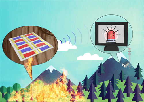 Thermoelectric generator senses fire and powers a transmitter. (Image courtesy of ACS Publications.)