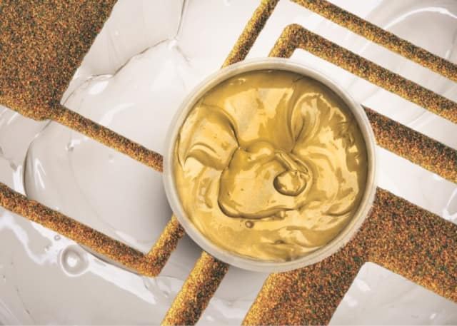 Thick film gold conductor paste. (Image courtesy of Heraeus Electronics.)