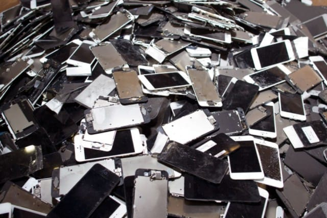 Smartphones waiting to be processed at Sims Recycling Solutions' facility in Roseville, Calif. (Image courtesy of Jim Merithew/Cult of Mac.)