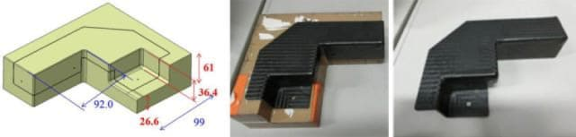 On the left, a CAD model for a 3D-printed paper mold, which is subsequently coated with carbon fiber reinforcement. On the right, the final part. (Image courtesy of Mcor.)