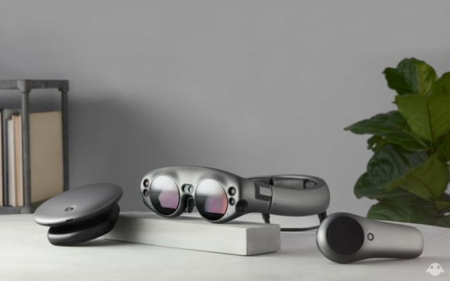 Are these real? Could it be an actual physical product? Magic Leap One's Lightpack (disc-shaped), Lightwear (glasses) and Control (microphone -haped). (Image courtesy of Magic Leap.)