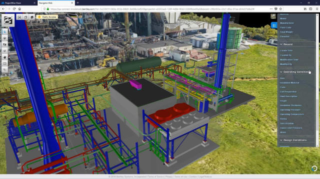 PlantSight brings together data from multiple 3D models including reality meshes in the one-portal view, allowing rapid access to information that has previously been inaccessible. (Image courtesy of Bentley.)