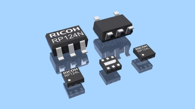 The RP124 integrates the LDO regulator, battery voltage monitor, and output enable pin into one chip. (Image courtesy of Ricoh.)