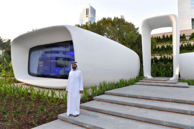 Sheikh Mohammed bin Rashid Al Maktoum inaugurates the world's first 3D-printed office building, which was 3D printed by WinSun. (Image courtesy of the Government of Dubai Media Office.)