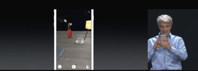 The demo, written on ARKit, showed just some very basic moves, like overlaying digital objects onto an iPhone's screen and showing off how the light and shadows react to the computing device's movement in Federighi's hands. (Image courtesy of Apple.)