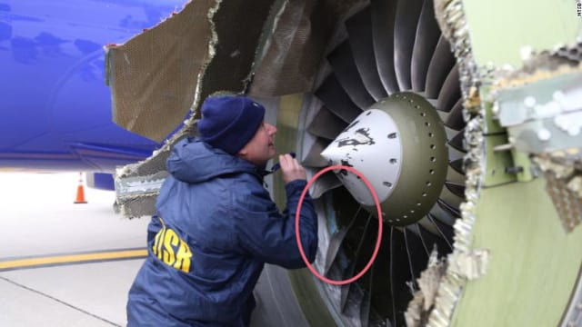 NTSB inspector checks engine. Missing fan blade. One blade broke free near its base and is being considered as the source of this calamity.