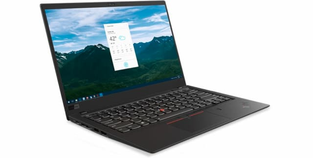 The Lenovo ThinkPad X1 Carbon, at 2.7 lbs, is the laptop you'll lust – unless you've had the Apple-flavored Kool-Aid. (Image courtesy of Lenovo.)