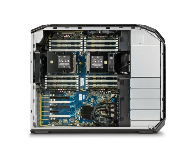 "The HP Z8 Workstation's split chassis architecture allows users to access the 1700-watt power supply (with a locking mechanism), 7 full-length PCIe slots, and 2 internal ""personality"" PCIe slots for any additions or modifications users may need for highly specific workflows. (Image courtesy of HP.)"