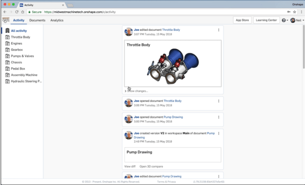Screenshot of an example activity feed in Onshape Enterprise. (Image courtesy of Onshape.)