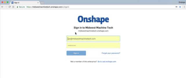 Onshape Enterprise offers custom domain addresses. (Image courtesy of Onshape.)