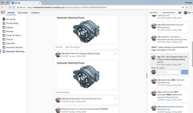 Onshape Enterprise activity feed. (Image courtesy of Onshape.)