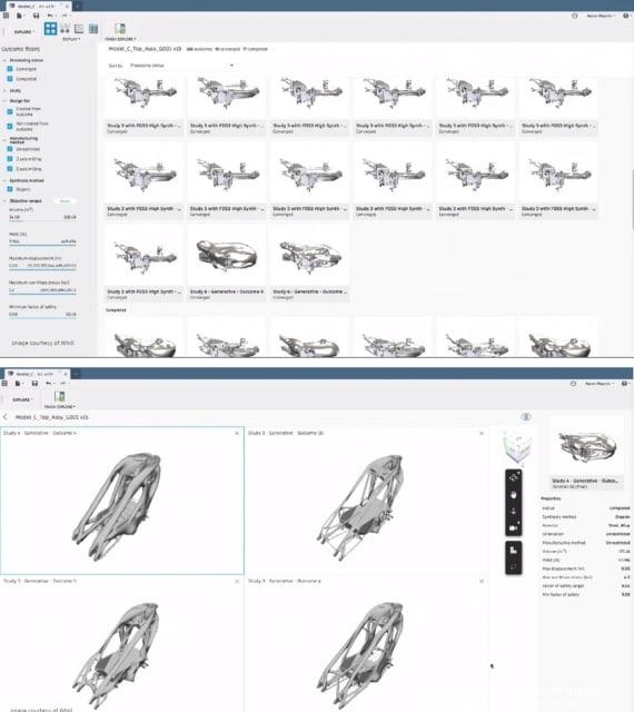 Uso de software impulsado por IA para generar opciones de diseño relevantes.  (Imágenes cortesía de Whill).