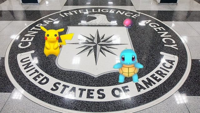 Pokémon at its home, with the seal of the CIA at its headquarters. (Image courtesy of New Eastern Outlook.)